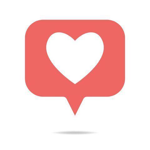Social media heart shape on a speech bubble