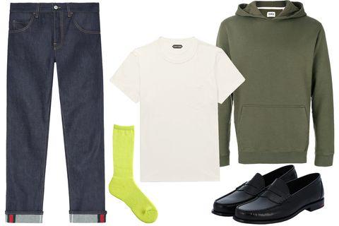 Clothing, Green, Jeans, Footwear, Outerwear, Fashion, Shoe, Trousers, Denim, Sleeve,