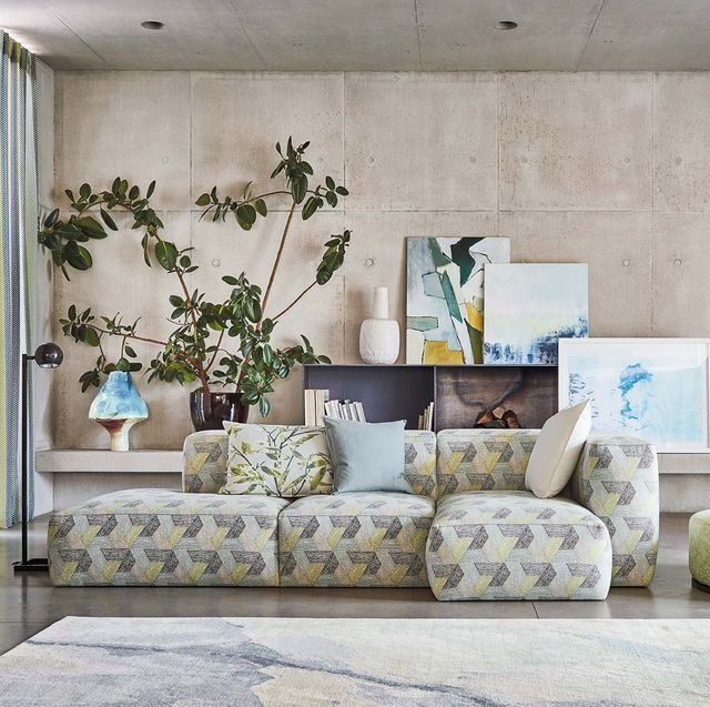 Living room, Room, Furniture, Interior design, Wall, Couch, Floor, Table, Design, Textile,