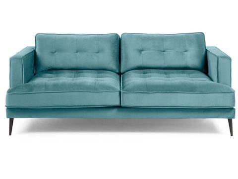 sofá tapizado en terciopelo capitoné turquesa