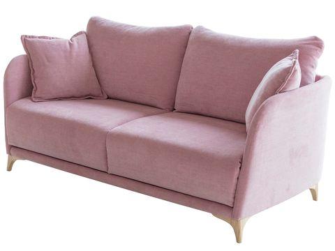 sofá cama en tono rosa