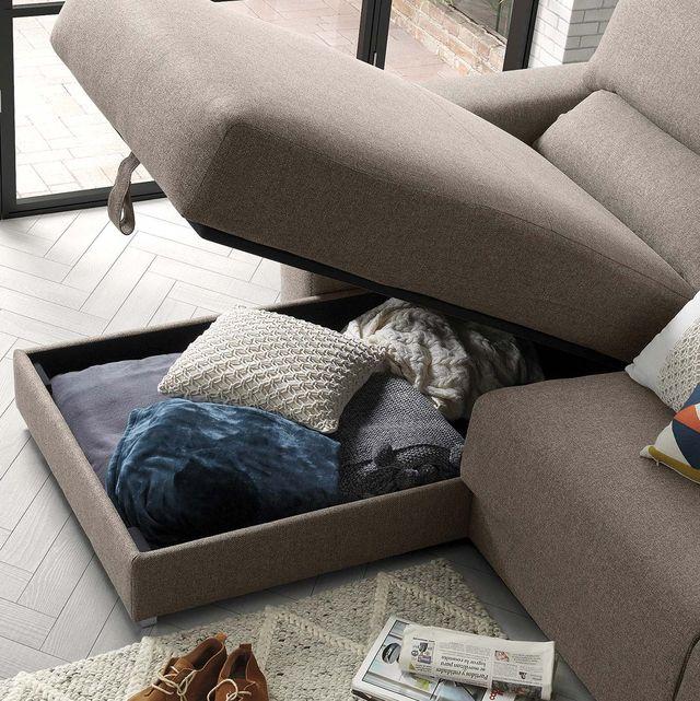 sofá con chaise longue y arcón de almacenaje