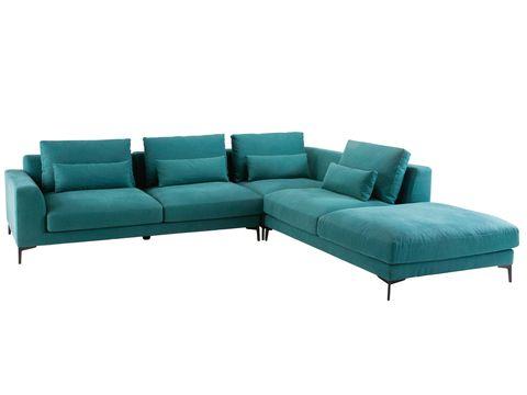sofá esquinero en azul pato, modelo portland