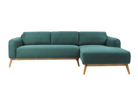 sofá en tono verde que incluye chaise longue