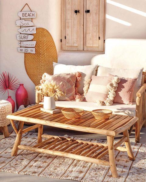 muebles de jardín sofá de madera estilo boho