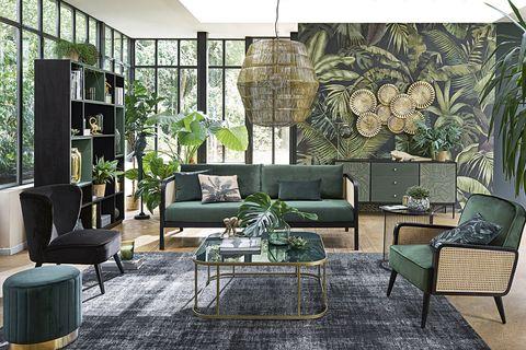 sofa verde oliva salon