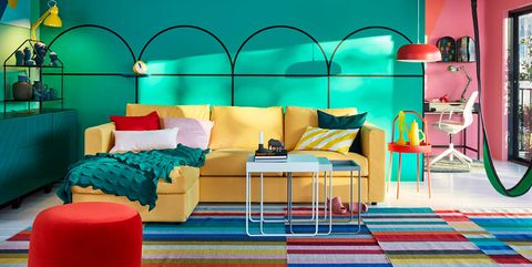 Decoration, Room, Green, Furniture, Interior design, Turquoise, Blue, Living room, Orange, Yellow,