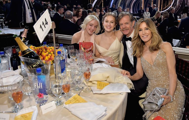 Sofia Grace Macy, Georgia Grace Macy, William H. Macy, and Felicity Huffman at the 76th Annual Golden Globe Awards.