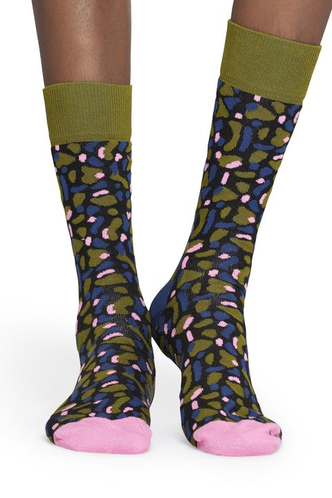 Sock, Footwear, Fashion accessory, Purple, Yellow, Leg, Shoe, Joint, Design, Material property,