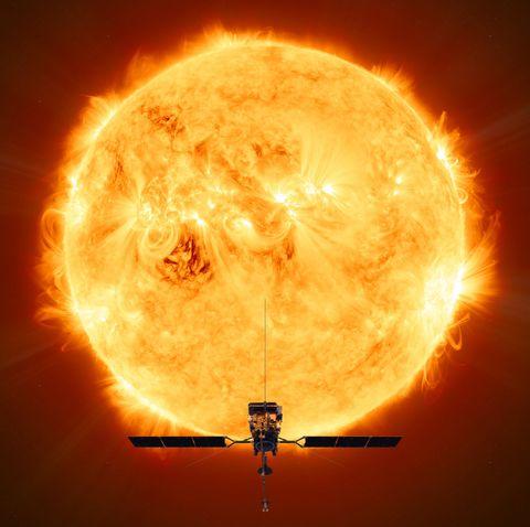 Sky, Light, Orange, Heat, Amber, Sun, Atmosphere, Astronomical object, Explosion, Space,