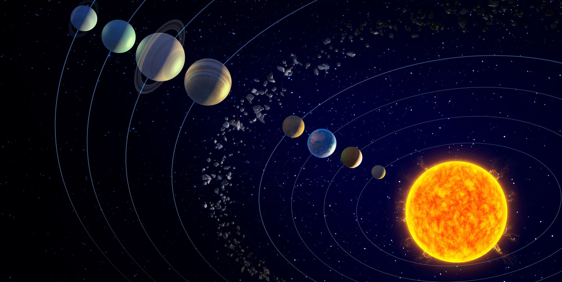 Solar system and sun