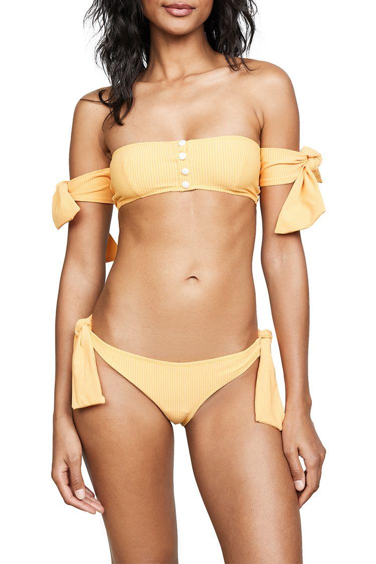 solid and striped yellow bikini