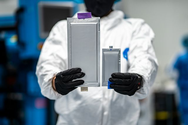 solid power is making progress the photo shows its 22 layer, 20 amp hour all solid state lithium metal cell compared to the company's first generation 10 layer, two amp hour cell