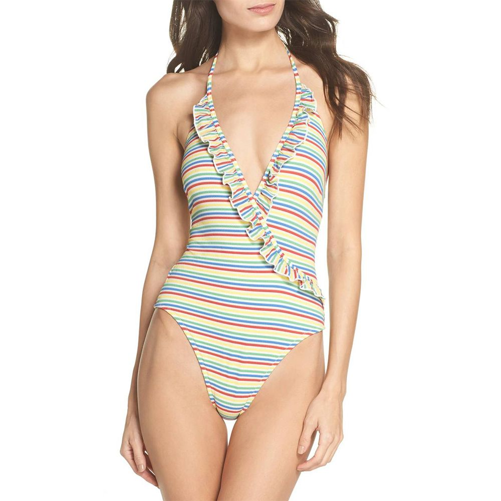 solid and striped rainbow nadine one piece