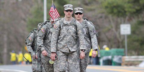 Soldiers March Boston Marathon