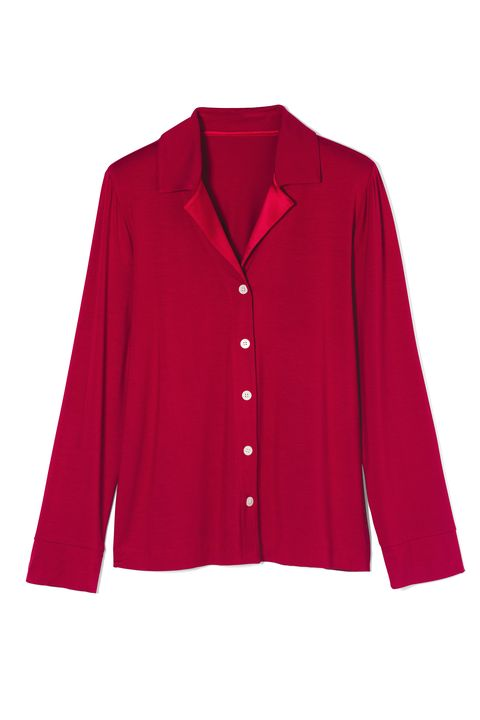 Clothing, Outerwear, Sleeve, Red, Collar, Button, Cardigan, Jacket, Top, Neck,