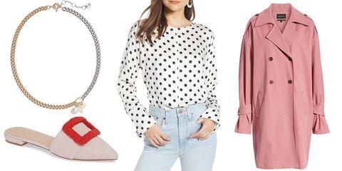 Clothing, White, Pink, Outerwear, Polka dot, Sleeve, Fashion, Pattern, Coat, Design,