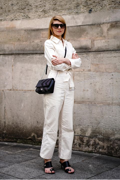White, Clothing, Street fashion, Fashion, Shoulder, Jeans, Black-and-white, Trousers, Blazer, Eyewear,