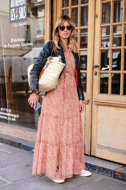 Clothing, Street fashion, Pink, Fashion, Dress, Snapshot, Outerwear, Peach, Shoulder, Beige,