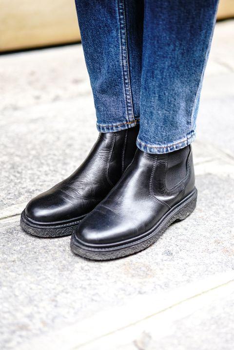 Footwear, Jeans, Shoe, Black, Blue, Boot, Street fashion, Denim, Brown, Ankle,