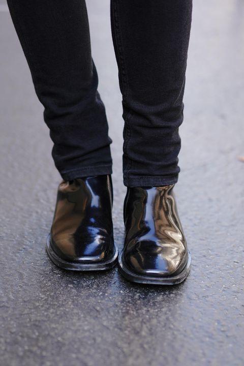 Footwear, Shoe, Black, White, Jeans, Human leg, Brown, Boot, Standing, Leg,