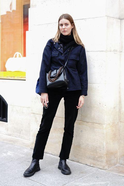 Clothing, Street fashion, Black, Jeans, Fashion, Footwear, Snapshot, Outerwear, Standing, Jacket,