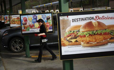 Fast food, Food, Fast food restaurant, Take-out food, Dish, Advertising, Junk food, Vehicle, Cuisine, Hamburger,