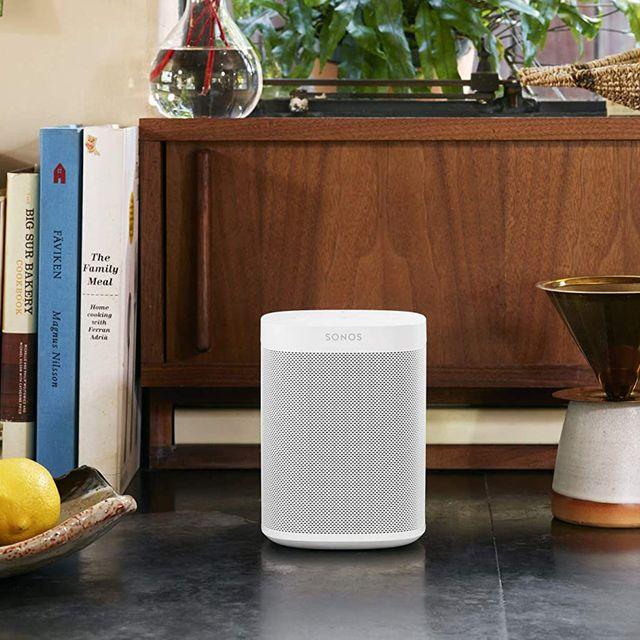 sonos one smart speaker in living room