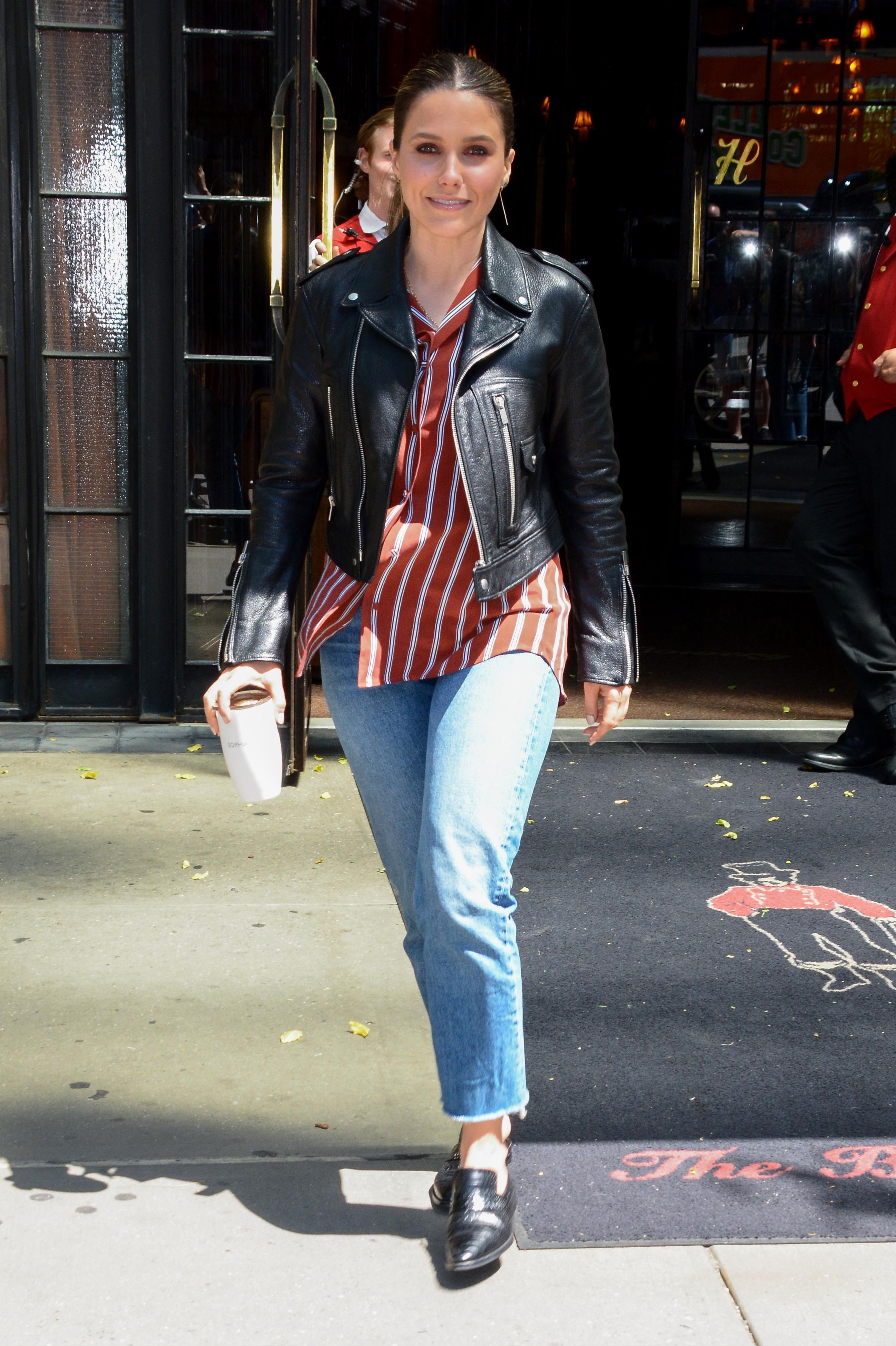Sophia Bush Transitional jackets like denim or leather are obvious choices for May. Take a page from Sophia Bush's book and wear your leather jacket with a striped shirt and cropped jeans instead of your usual t-shirt and skinny jeans combo.