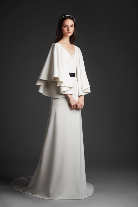 Clothing, Dress, Fashion model, Gown, White, Shoulder, Wedding dress, Fashion, A-line, Sleeve,