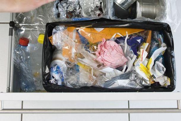 sorting rubbish into home recycling bins