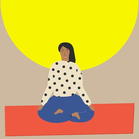 Yellow, Polka dot, Illustration, Design, Font, Art, Pattern, Sitting, Clip art, Child,