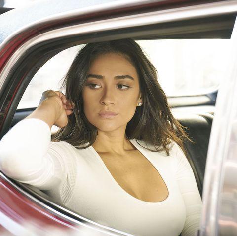 Beauty, Vehicle door, Vehicle, Car, Automotive design, Photography, Model, Automotive exterior, Long hair, Auto part,