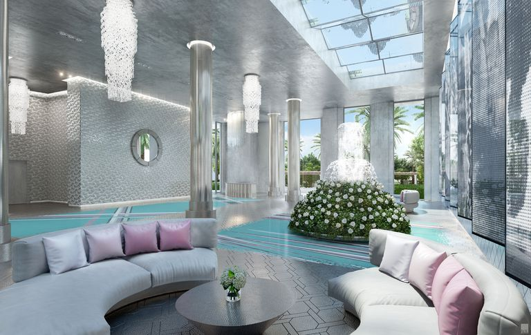 One of the lobbies designed by Karl Lagerfeld at The Estates at Acqualina, which will open in the Miami area in 2020.