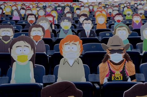 South Park cutouts at the Denver Broncos Game