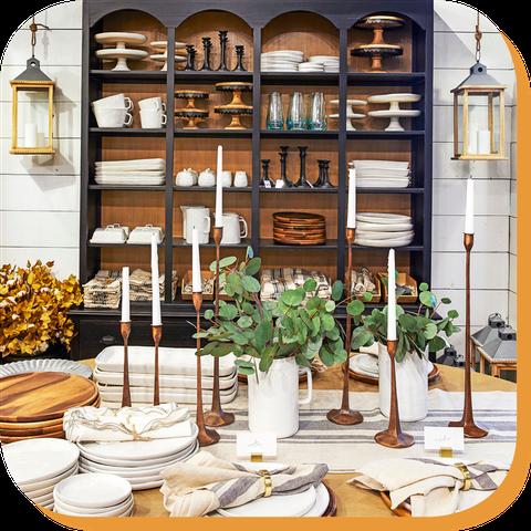 Room, Table, Furniture, Interior design, Dining room, Dishware, Houseplant, Hutch, Tableware,