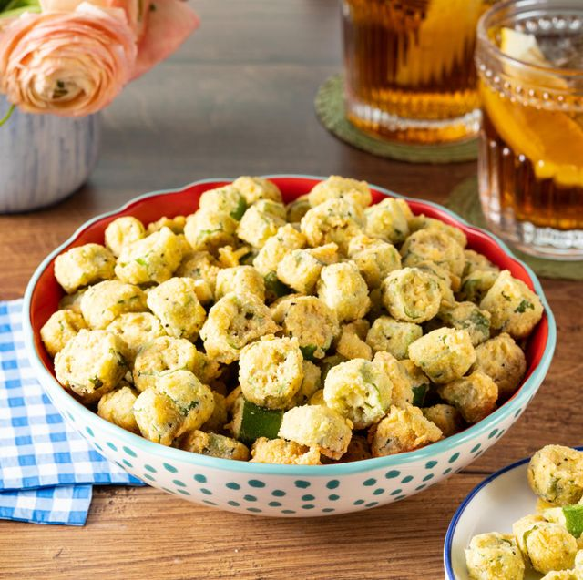 southern fried okra with iced tea in back