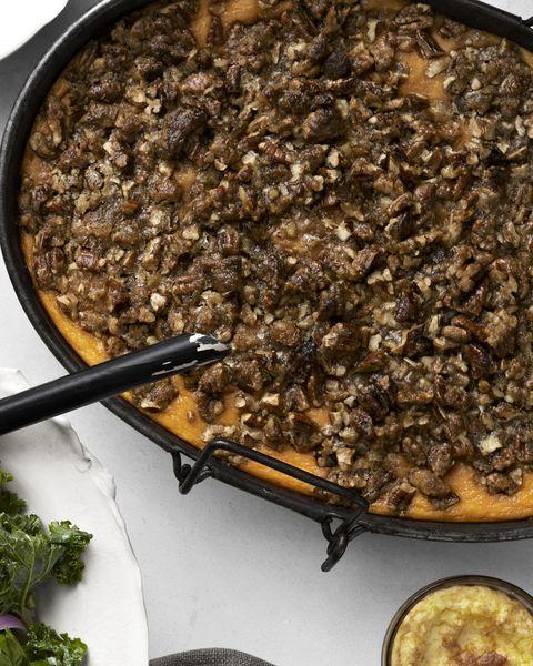 roasted sweet potato casserole with praline streusel