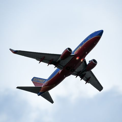 Southwest airlines jet in flight...