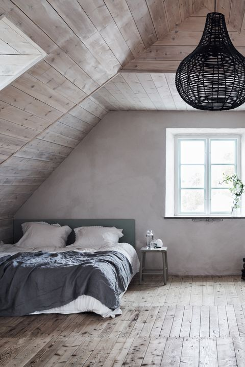 White washed wood walls