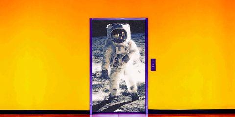 Yellow, Text, Personal protective equipment, Art, Font, Astronaut, Modern art, Headgear, Adaptation, Gas mask,