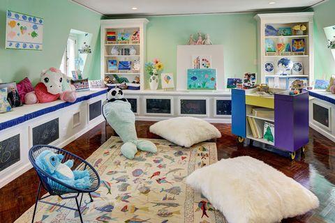 Room, Furniture, Blue, Property, Living room, Interior design, Turquoise, Yellow, Building, Floor,