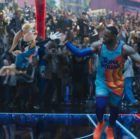 lola bunny lebron james high five on a basketball court in space jam a new legacy