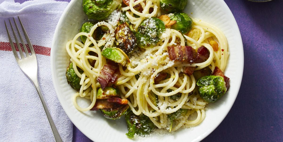 Spaghetti With Bacon And Parmesan Brussels Sprouts