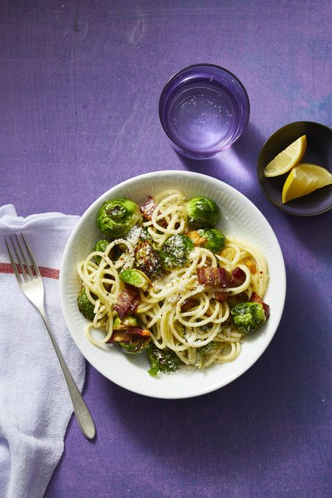 30 minute dinners spaghetti bacon parmesan brussels sprouts