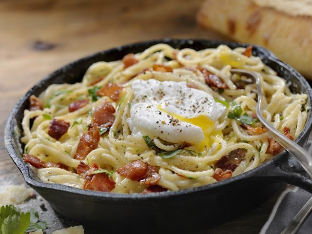 spaghetti carbonara with a poached egg