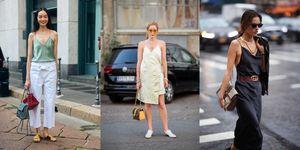 Streetstyle op straat waarin vrouwen spaghettibandjes dragen