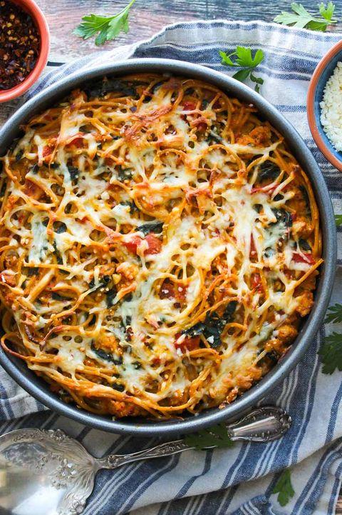 best kale recipes   kale and pumpkin spaghetti pie