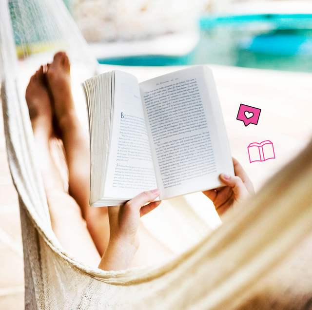 a woman in a hammock reading a book
