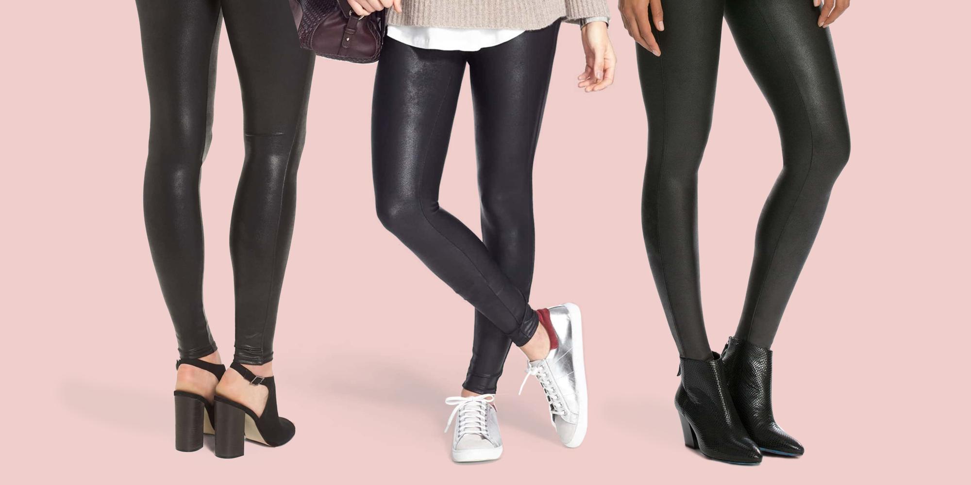 Black 6-8 Spanx Faux Leather High Waist Slimming Control Top Pants Leggings M